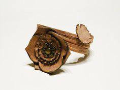 Leather bracelet Hazel Memory cuff Rustic women by myRainbowWorld, $18.00