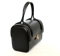 Vintage Black Lewis Crown Handbag. 50s Mad Men Fashion. Black Gold. Structured Purse. Small Handbag. Mothers Day Gift. Vegan Friendly