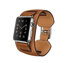 Apple Watch Band, Pandawell™ Luxury Cuff Genuine Leather watch Band strap Bracelet Replacement Wrist Band With Adapter Clasp for 42mm Apple Watch & Sport & Edition (42mm-Brown) Pandawell