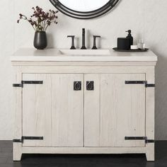 The 24 to 48 inch Americana bathroom vanity bases lend a soulful, rustic presence with its reclaimed wood and hand-forged iron hardware.