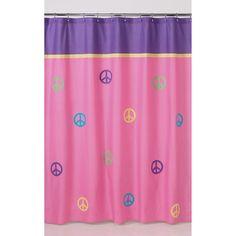Sweet Jojo Designs Purple Groovy Peace Sign Kids Shower Curtain By Sweet  Jojo Designs