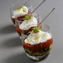 Verrine, Oeuf poché, tomates et courgettes sur Recettes.net