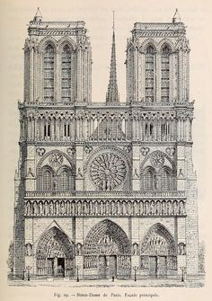 Front elevation of notre dame cathedral, paris detail architecture, classic architecture, gothic architecture Classic Architecture, Architecture Drawings, Historical Architecture, Architecture Details, Paris Drawing, Elevation Drawing, Gothic Buildings, Cathedral Architecture, Gothic Art