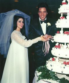 Elvis Presley and Priscila Beaulieu #celebrity #wedding
