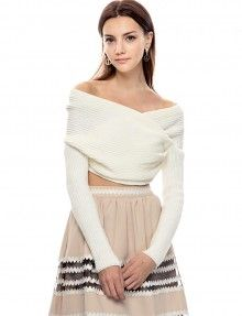 Ivory Off The Shoulder Crop Sweaters - Party Knit Top - $62