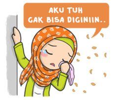 Flower Hijab : Daily Talk by Imran Ramadhan sticker Text Quotes, Funny Quotes, Funny Memes, Emoji People, Hijab Drawing, Eid Greetings, Islamic Cartoon, Islam For Kids, Anime Muslim