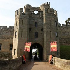 "WARWICK CASTLE GATE ~ ENTRANCE TO THE HOME OF WARWICK, ""THE KINGMAKER"" & HIS DAUGHTERS, ISABEL & ANNE.  THEY BOTH MARRIED EDWARD THE IV'S BROTHER'S:  ISABEL TO GEORGE PLANTAGENET & ANNE, TO RICHARD, WHO LATER BECAME ""KING RICHARD THE III"".  ~ IF THESE WALLS COULD TALK, WOW! ... THE STORIES THEY COULD TELL."