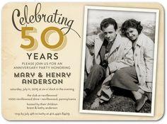 Romantically Retro - Signature White Photo Anniversary Party Invitation - Sarah Hawkins Designs - Gilded - Brown : Front