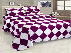 16''5 Pc Egyp. Cotton Purple & White Diamond Style Duvet Cover Set Oly Queen.