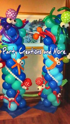 Under the sea theme columns/ crazy but cute Little Mermaid Birthday, Little Mermaid Parties, Under The Sea Theme, Under The Sea Party, Ocean Party, Balloon Columns, Balloon Decorations, 1st Birthday Parties, Party Themes