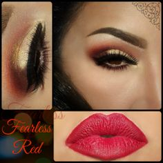 Sexy Red and Gold Cut Crease Makeup with Red Lips