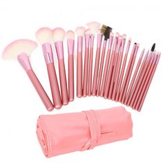 22pcs  Cosmetic Makeup Brush Set with Bag Pink 22PCS #makeupbrush #brushes #makeup