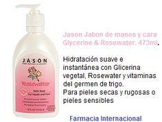 Jason Jabon de manos y cara Glycerine & Rosewate de los laboratorios Jason. Además, también es utilizar para lavar la cara. Este jabón proporciona una hidratación suave e instantánea gracias a la glicerina vegetal y al agua de rosas. #cuidar #uñas #jason