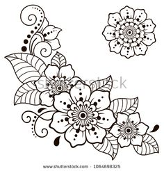 Set of Mehndi flower pattern for Henna drawing and tattoo. Decoration in ethnic … Set of Mehndi flower pattern for Henna drawing and tattoo. Decoration in ethnic oriental, Indian style – Kaufen Sie diese. Henna Hand Designs, Henna Tattoo Designs, Mehndi Designs, Henna Designs Drawing, Henna Flower Designs, Henna Patterns, Zentangle Patterns, Flower Patterns, Embroidery Patterns