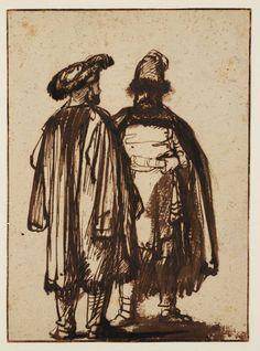Rembrandt van Rijn - Two Orientals Talk Teylers Museum Rembrandt Etchings, Rembrandt Drawings, Rembrandt Paintings, Fine Art Drawing, Life Drawing, Figure Drawing, Art Drawings, Leiden, Amsterdam