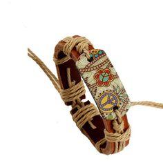 2017 New Unisex Men Bracelet Color Heat Press World Peace Symbol Charm Cuff Bracelet Wrist Band Wrap Leather Jewelry Accessories