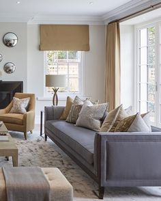 New Apartment Living Room Grey Curtains Ideas Room Design, Gold Curtains Living Room, Sophie Paterson Interiors, Apartment Living Room, Grey Sofa Living Room, House Interior, Living Room Grey, Beige And Grey Living Room, Gold Living Room