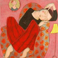 Cocooning, By Cecile Veilhan, French artist. One of my favorite artists! Figure Painting, Painting & Drawing, Illustrator, Cecile, Belle Photo, Figurative Art, Oeuvre D'art, Oeuvres, Contemporary Artists