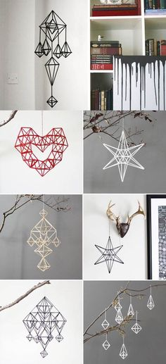 DIY Unique Hanging Decorations from Straws. So basically a Finnish himmeli. Straw Projects, Diy Projects To Try, Recycled Crafts, Diy And Crafts, Arts And Crafts, Diy Crafts With Straws, Straw Decorations, Hanging Decorations, Plastic Straw Crafts