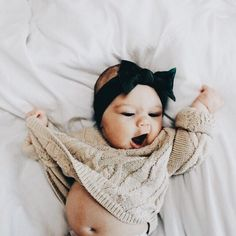 Baby girl waking up. Black headband and cream sweater for little baby girl. Lil Baby, Baby Kind, Little Babies, Little Ones, Cute Babies, The Babys, Baby Girl Fashion, Kids Fashion, Womens Fashion