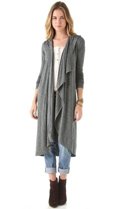 Dolan Asymmetrical Hooded Maxi Cardigan A soft shawl collar circles under the hood and drapes down the open placket of this fluid, marled jersey cardigan. Long, fitted sleeves and a long, loose silhouette lend a cozy touch.    Fabric: Marled jersey.  95% rayon/5% spandex.  Dry clean.  Made in the USA.