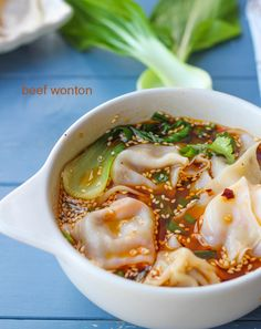 beef wonton | ChinaSichuanFood. Elaine includes an instruction video of how to fold wonton.