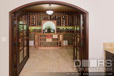 Custom Interior Flat Arch Double Door, Clear Glass with Bevel For Wine Cellar Custom Wood Interior Doors - from Doors For Builders, Inc.