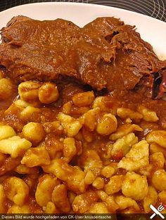 Rinderschmorbraten mit Rotwein im Slowcooker (Crockpot), ein gutes Rezept aus der Kategorie Schmoren.