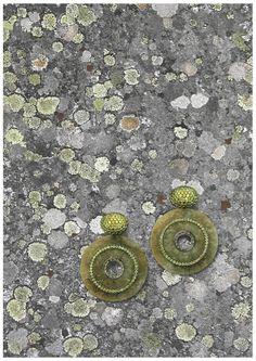 Hemmerle earrings   jade discs - demantoid garnets - blackened silver - white gold