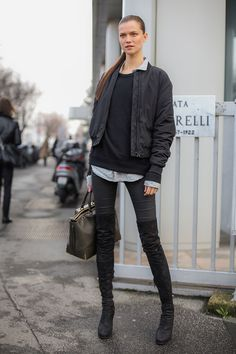 bomber, skinnies & thigh highs. Kasia #offduty in Milan.