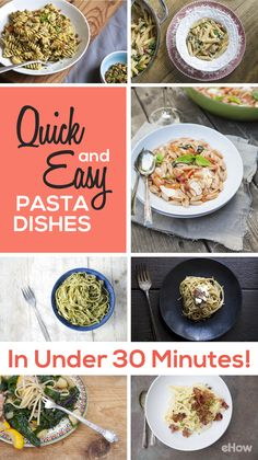 No more guessing what to make for dinner that is healthy, tasty and quick! These pasta dishes are way more than your normal bland recipes; some include bacon, swiss chard, chipotle cilantro pesto and more! All that flavor and in under 30 minutes. Grab the recipes here: http://www.ehow.com/how_12340934_quick-easy-pasta-dishes.html?utm_source=pinterest.com&utm_medium=referral&utm_content=curated&utm_campaign=fanpage
