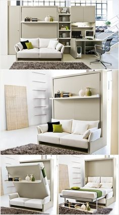 A Murphy Bed with a Sofa and Wall Having a Pull-Out Desk