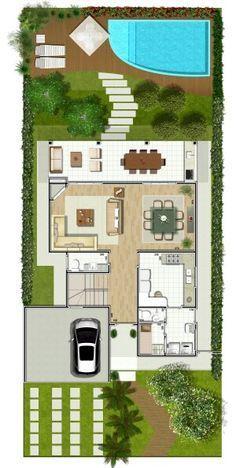 Pinterest: @claudiagabg | Casa de 2 pisos 4 cuartos 1 estudio abierto piscina / planta 1
