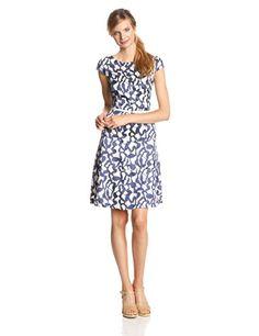 Anne Klein Women's Cap-Sleeve Reflection Jacquard Swing Dress - Listing price: $139.00 Now: $109.99  #AnneKlein