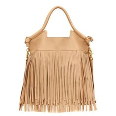 Fringed Mid City Tote -Biscuit-OS