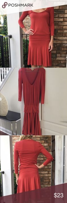 Long sleeve orange Anthropologie dress Ella Moss dress purchased from Anthropologie. In like new condition. Banded waistband. Hits right at the knee on me and I am 5'7. Size xsmalk but could easily fit a small too. Thanks for looking.💕 Anthropologie Dresses Midi