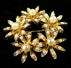 Vintage Brooch Gold Tone Faux Pearl Floral Circle Brooch | eBay