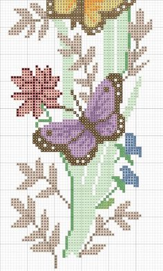 Butterfly Cross Stitch, Cross Stitch Heart, Simple Cross Stitch, Easy Cross Stitch Patterns, Cross Stitch Borders, Cross Stitching, Cross Stitch Pillow, Modern Embroidery, Needlepoint