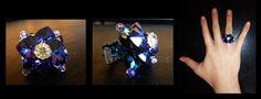 Bague éclat bleu roi. Cristal de Swarovski. Shiny handmade ring with Swarovski crystal hearts.