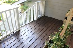 behr semi padre brown behr solid white-railings