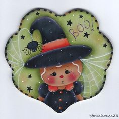 HP GINGERBREAD Witch Scalloped Heart Halloween FRIDGE MAGNET