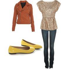 Orange Jacket, yellow flats <3