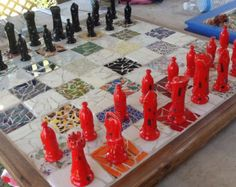 """Mosaic Chess Board w/ vintage chess pieces one of a kind 26 1/2"""" X 26 1/2"""""""