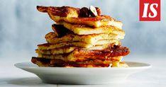 Jos riisipuuroa tuli tehtyä hieman liikaa, olet onnekas. Pian voit nimittäin nostaa uunista pellillisen rapeaa ja herkullista riisipuuropannaria. Tuli, Pancakes, Breakfast, Food, Morning Coffee, Essen, Pancake, Meals, Yemek