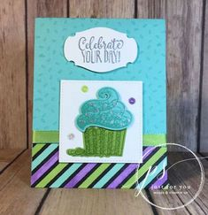 Hello Cupcake stamp set used from Stampin' Up! to make this happy birthday card.  The framelits used are Call Me Cupcake also from Stampin' Up!