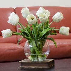 [custom_html]Real Touch Tulip Arrangement with White Tulip Flowers Artificial Faux in Round Vase for Home Decor and Silk Centerpiece. [/custom_html]This contemporary and elegant artificial arrangement