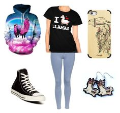 """Llamas"" by sh-armacost ❤ liked on Polyvore featuring Converse, Topshop and Casetify"