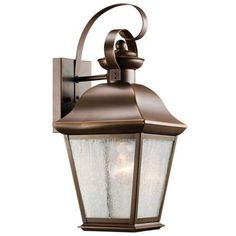 Kichler Mount Vernon Single Light 17  Tall Outdoor Wall Sconce with Seedy Glass Panels - Olde Bronze