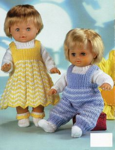 2DC021  Baby Dolls Knitting Patterns Baby Dolls Dress Dungarees Sweater Socks Boy Dolls Girl Dolls Dolls Clothes 12-22 inch DK PDF Instant Download