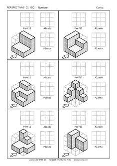Ejercicios de Vistas y perspectivas. Alzado izquierdo. Piezas simples. Isometric Drawing Exercises, Isometric Art, Isometric Design, Orthographic Projection, Orthographic Drawing, Geometric Drawing, Geometric Shapes, Perspective Drawing Lessons, Mechanical Engineering Design